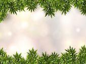 stock photo of snow border  - Christmas background with fir and stars - JPG