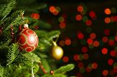 picture of fairies  - Decorated Christmas tree on  blurred - JPG