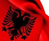 stock photo of albania  - 3D Flag of the Albania - JPG