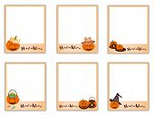 foto of halloween  - Collection of Six Blank Instant Photo Prints or Instant Camera with Halloween Evil and Halloween Item Sign for Halloween Celebration - JPG