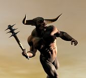 stock photo of minotaur  - The minotaur prowls it - JPG