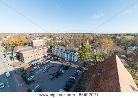 Aerial View Of Rural City In Latvia. Valmiera