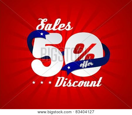 Sale poster with 50% percent discount. Red edition with blue ribbon for sales.