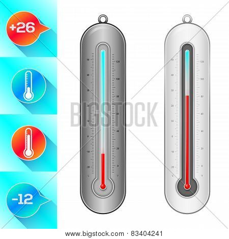 Thermometer And Weather Icons