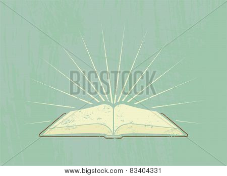 Open book with rays. Vintage poster in grunge style. Vector illustration.