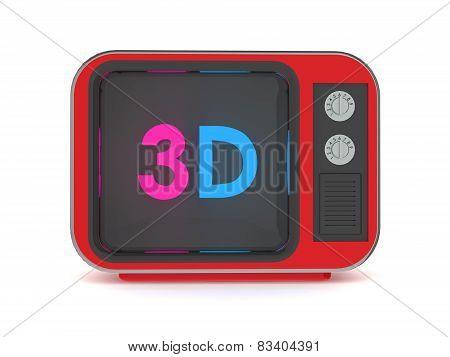 Old retro tv 3d