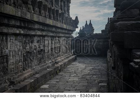 Mid-level Walkway At Borobudur