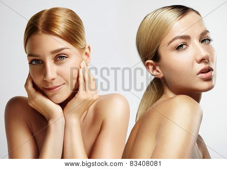 Two Beauty Blondie Girls With Ideal Skin