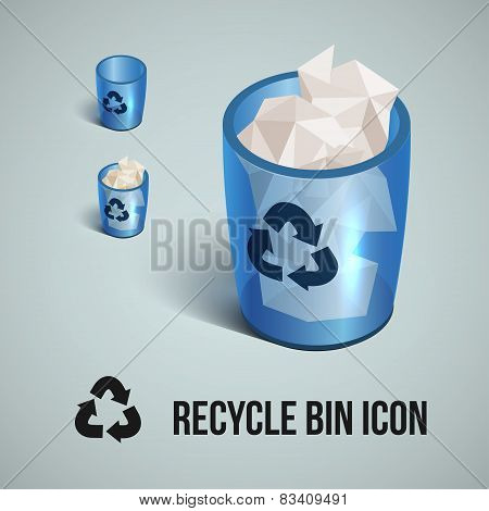 blue transparent realistic recycle bin icons