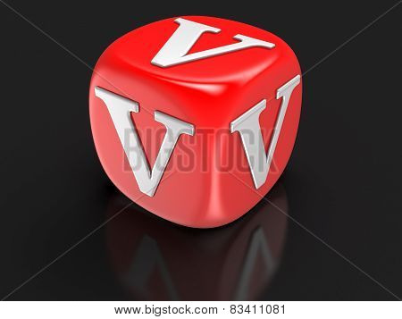 Dice with letter V (clipping path included)