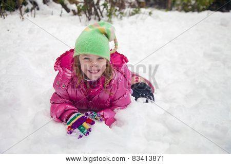 Happy Girl In The Snow