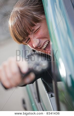 Screaming Woman Shooting From Gun