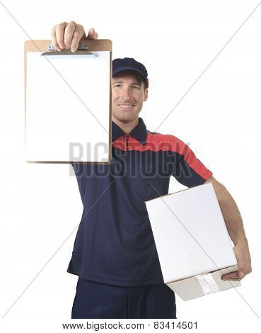 Delivery person delivering packages holding clipboard and packag