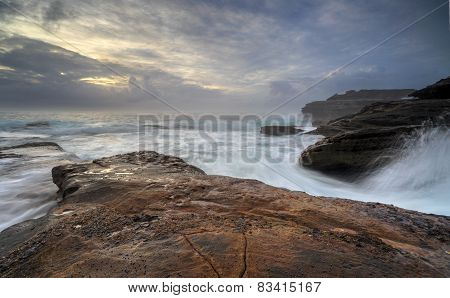 Moody Sunrise And Wild Waves At Little Bay