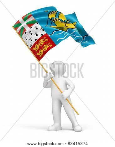 Man and of Saint Pierre and Miquelon flag (clipping path included)