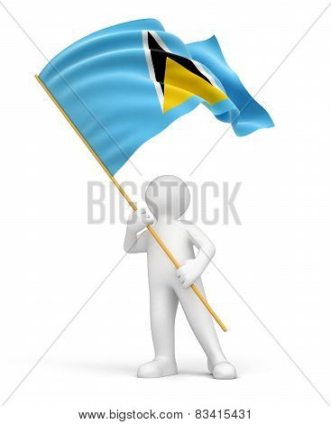 Man and Saint Lucia flag (clipping path included)