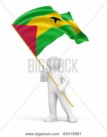 Man and Sao Tome and Principe flag (clipping path included)