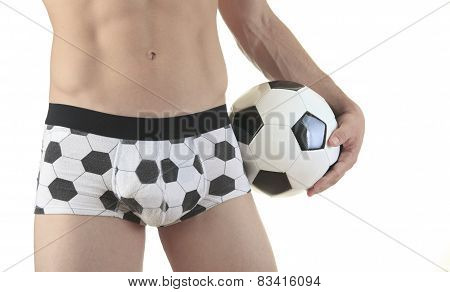 football ball, isolated on white  with underwear