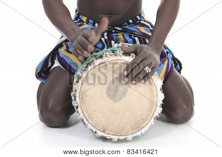 african person with djembe on white background, traditional perc