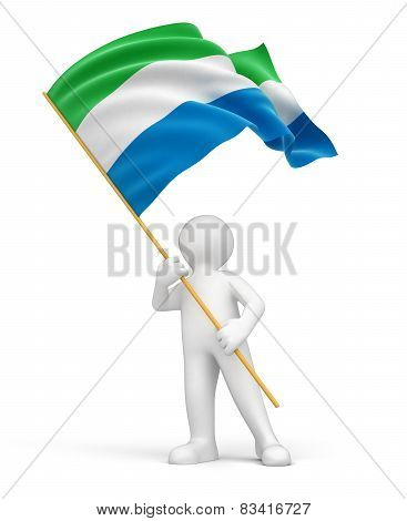 Man and Sierra Leone flag (clipping path included)