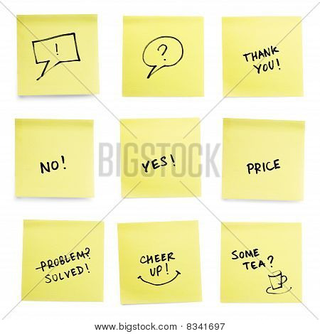 Yellow Sticky Papers Set With Some Trendy Slogans.
