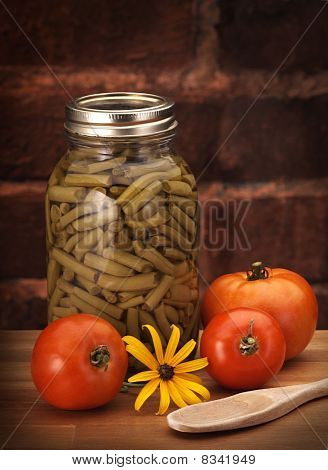 canned beans on wood counter