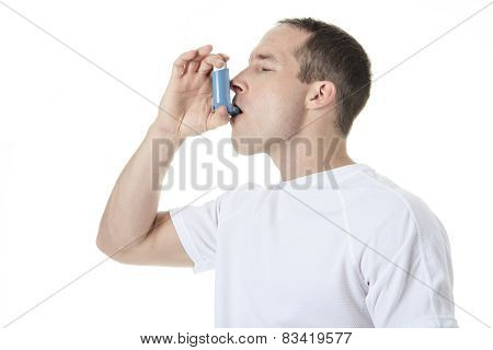 A sport man using a asthma pump