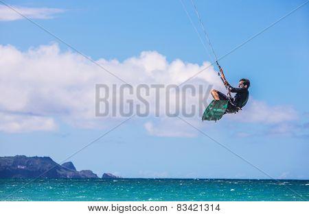 Maui Kiter At Kanaha Beach Park