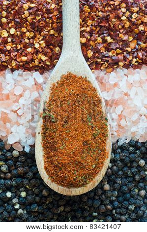salt, pepper and hot powder spices background