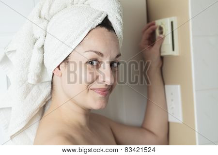 Woman shower thermostat