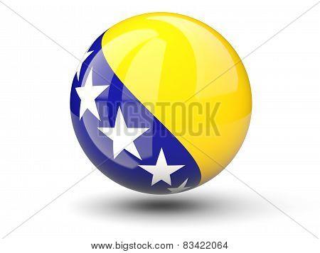 Round Icon Of Flag Of Bosnia And Herzegovina