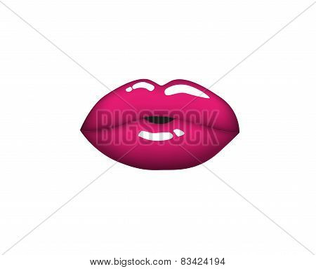 Beautiful woman kiss pink lips. Vector illustration
