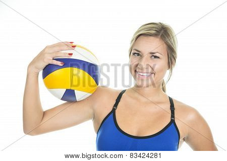 Beautilful volleyball player woman in a studio white