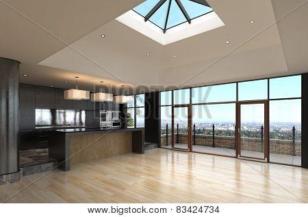 3D rendering / Modern Empty Penthouse