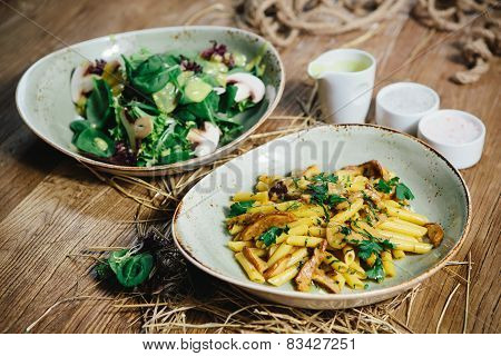 pasta penne with mushrooms