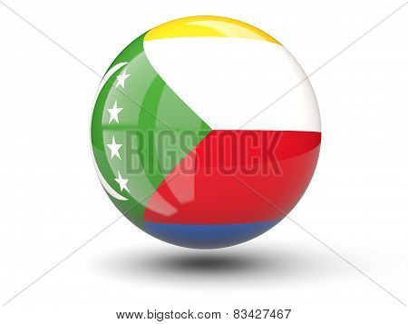 Round Icon Of Flag Of Comoros