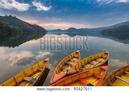 Boats At Begnas Lake
