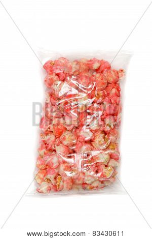 bag of pink candy popcorn