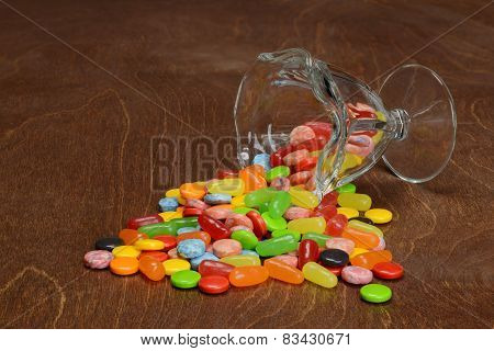 spilled assorted candies