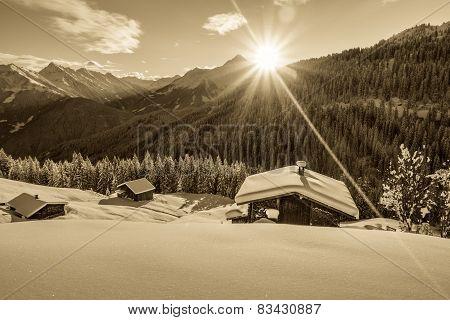 Sunrise over the ski huts