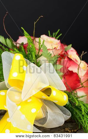 Bright Yellow Bow On Wedding Bouquet