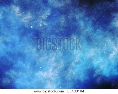 Blue Glowing Nebula In Deep Space