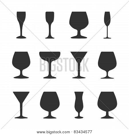 Icons Wineglasses, Vector Illustration
