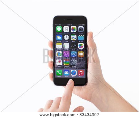 Isolated iPhone 6 Space Gray In A Woman's Hands