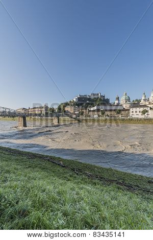 Mozart Bridge (mozartsteg) And Salzach River In Salzburg, Austria