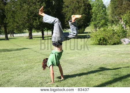 Hand Stand By Teen Boy