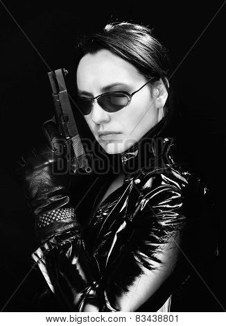 Secret agent woman with gun