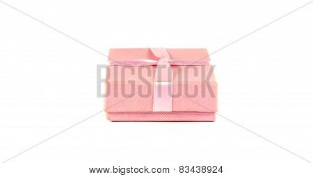 Pink Box With A Ribbon On A White Background