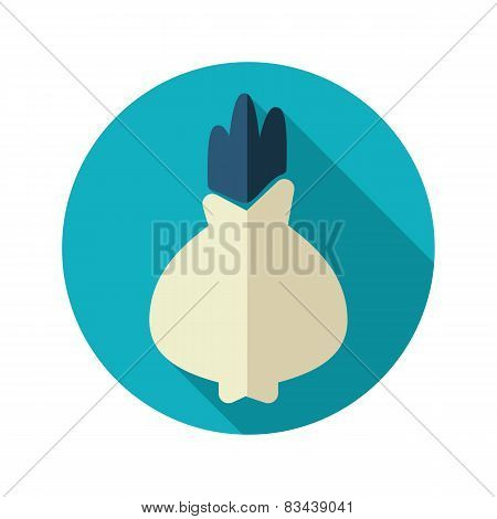 Onion Flat Icon With Long Shadow