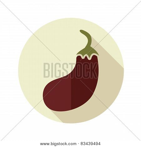 Eggplant Flat Icon With Long Shadow